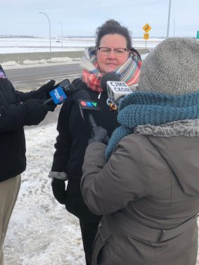 Pilot Butte Overpass Now Open. Wanda Campbell talks about new interchange.