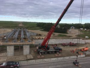 Bridge 31 at Hwy 11 - double pick setup for NU girders - east span