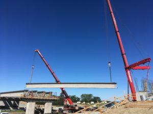 Bridge 31 at Hwy 11 - double picking NU girders - east span