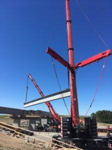 Bridge 31 at Hwy 11 - double picking NU girders - east span 2nd girder