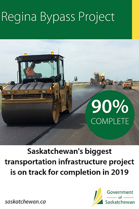 Regina Bypass is 90% complete - On schedule for October 2019 opening